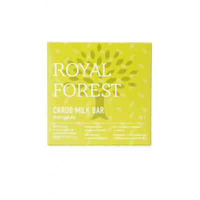 Шоколад из кэроба с миндалем Royal Forest 75г